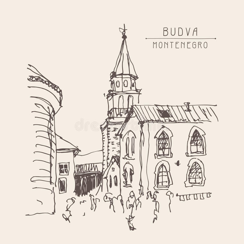 Sketch drawing of the bell tower church top view in old town Bud. Va Montenegro, vintage touristic postcard, travel vector illustration stock illustration