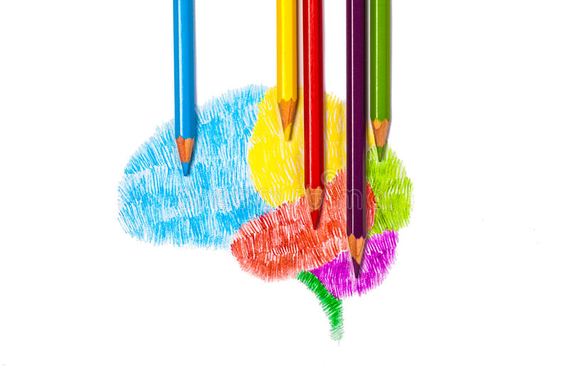 Sketch drawing of brain graphic by color pencil royalty free stock photo