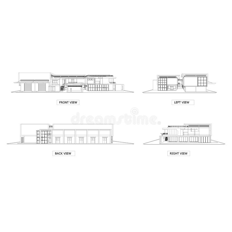 Sketch drawing of building Architecture. royalty free illustration