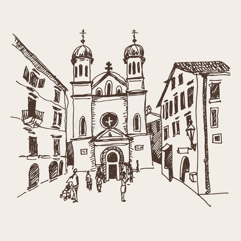 Sketch drawing of Church of Saint Tryphon in Kotor Montenegro royalty free illustration