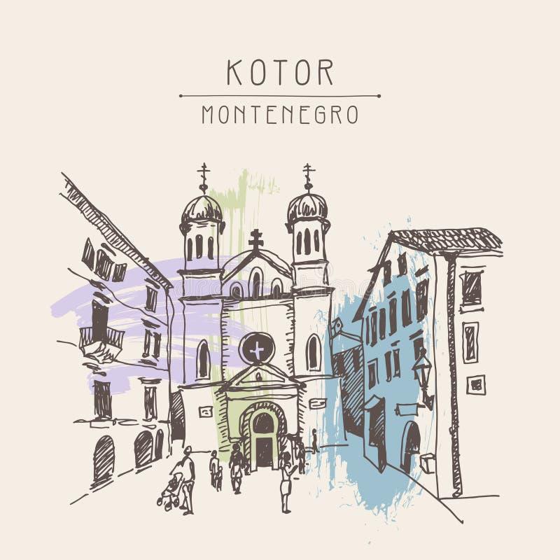 Sketch drawing Church of Saint Tryphon in Kotor Montenegro stock illustration