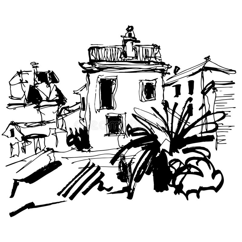 Sketch drawing of historical building with palm in Budva. Black and white sketch drawing of historical building with palm in Budva Montenegro, old town travel stock illustration