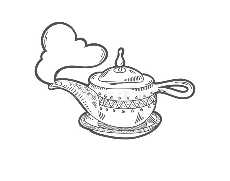 Sketch drawing icon of aladdin magic lamp. Boiling kettle with a cloud of steam, vector illustration royalty free illustration