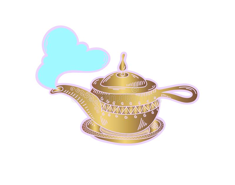 Sketch drawing icon of golden aladdin magic lamp. Boiling kettle with a cloud of steam, vector illustration royalty free illustration