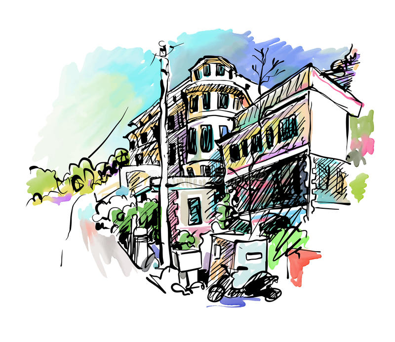 Sketch drawing of Italy village landscape royalty free illustration