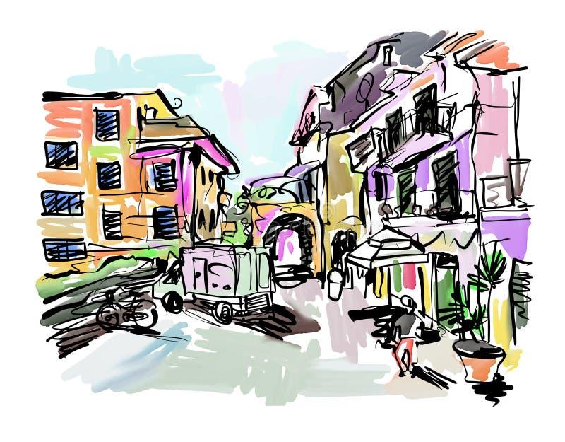Sketch drawing of Italy village landscape stock illustration
