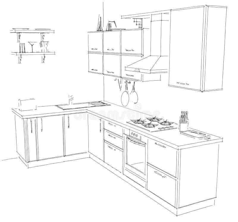 Line Drawing Kitchen : Sketch drawing of modern corner kitchen interior black and