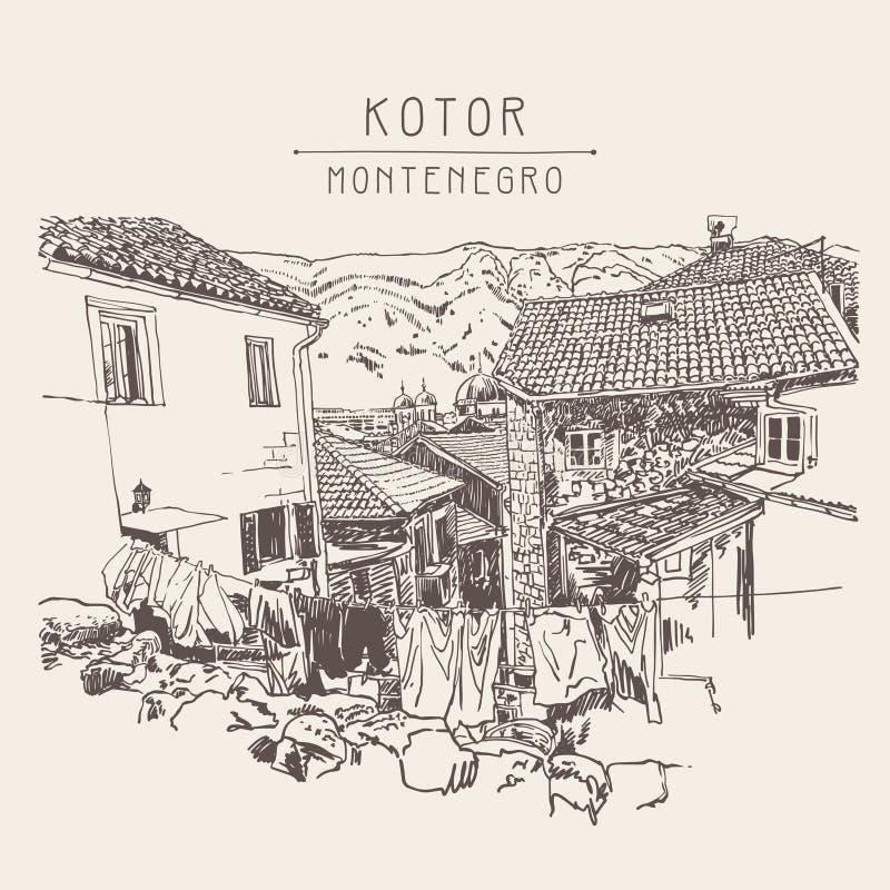 Free Sketch Drawing Of Old Town View Kotor Montenegro, Vintage Touris Royalty Free Stock Photo - 77399385