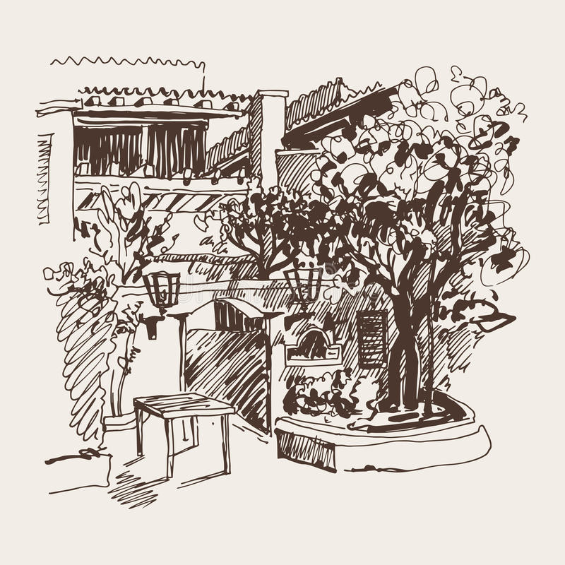 Sketch drawing of Slovenska Plaza hotel street in Budva, Montene. Original sepia sketch drawing of Slovenska Plaza hotel street in Budva, Montenegro, travel vector illustration