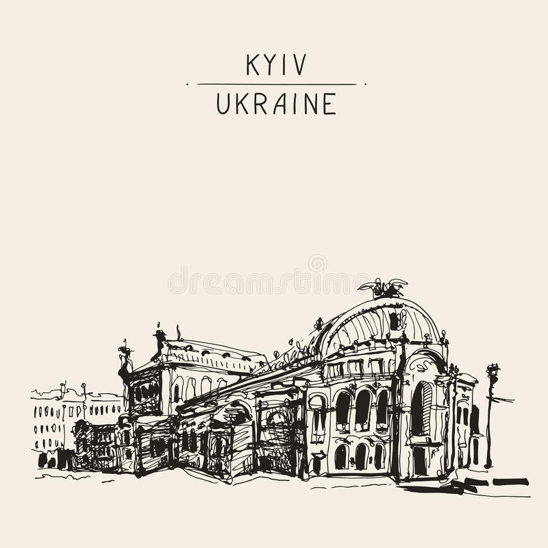 Sketch drawing of Ukraine Kyiv national opera and ballet theatre royalty free illustration