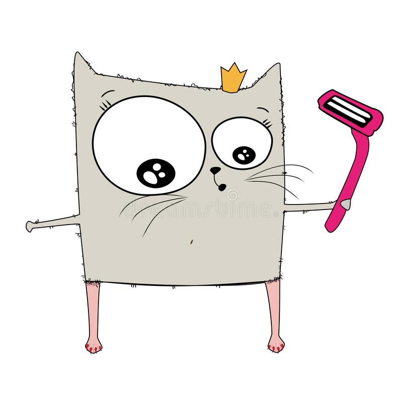 Sketch drawn in : cat woman shave hairy legs with a razor in her hands. Illustration before, after on white isolated. Sketch drawn in : cat woman shave hairy royalty free illustration