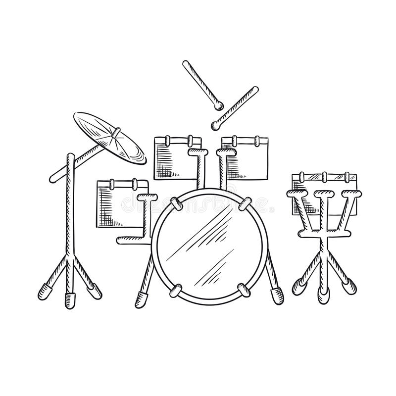 sketch of drum set with traditional kit stock vector