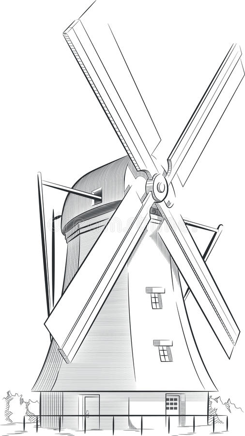 Line Drawing Windmill : Sketch of dutch landmark windmill stock vector image