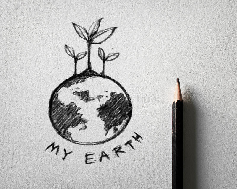 Download sketch of earth concept on white paper stock photo image of business paper