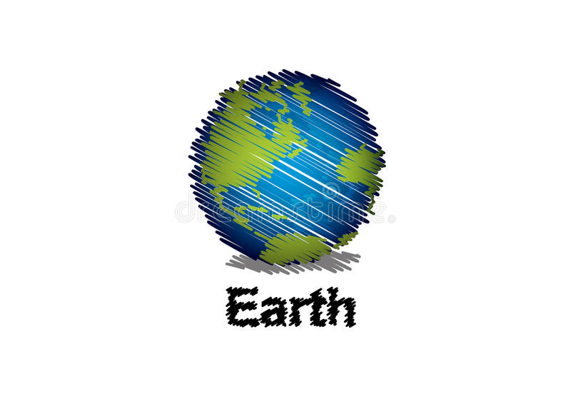 Sketch The Earth Handwriting Style Royalty Free Stock Photography