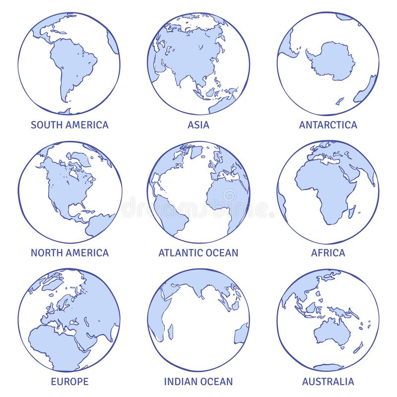Sketch earth. Map world hand drawn globe, earth circle concept continents contour planet oceans land doodle set stock illustration