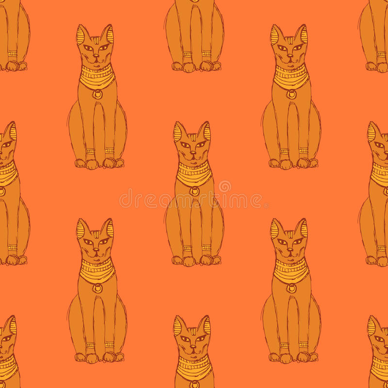 Sketch Egyptian cat in vintage style stock illustration