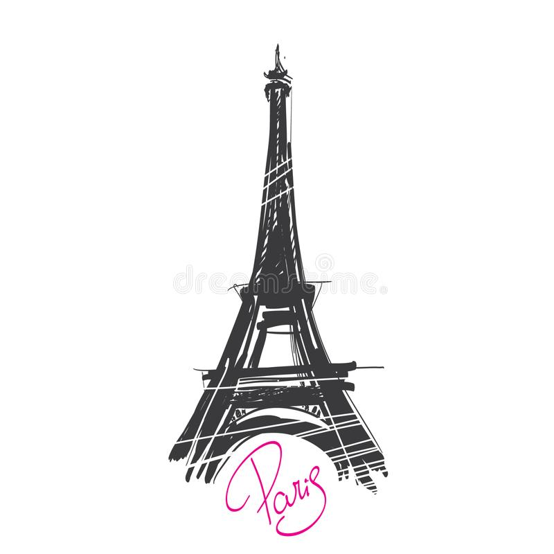 Sketch of the Eiffel Tower in Paris, made by hand. royalty free illustration