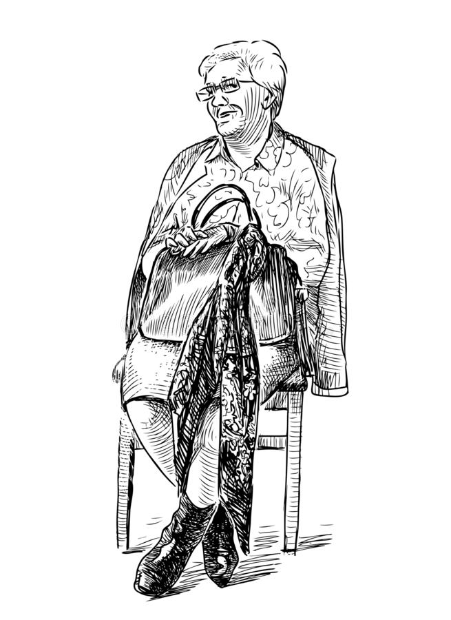 A sketch of an elderly woman sitting on a chair stock illustration