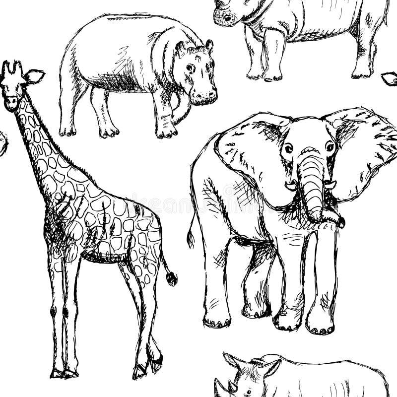 Sketch elephant, rhino, giraffe and hippo, vector seamless pattern stock illustration