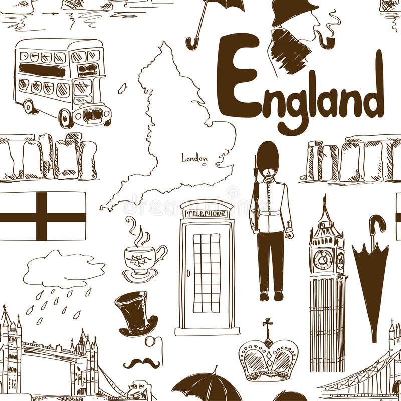 Download Sketch England Seamless Pattern Stock Vector - Illustration: 42189891