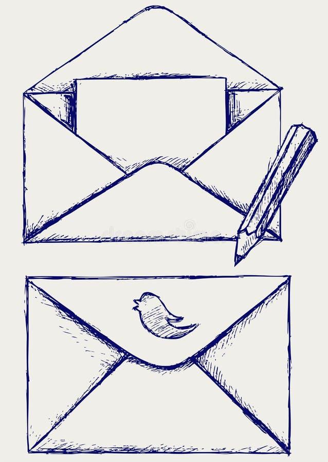 Sketch envelope vector illustration