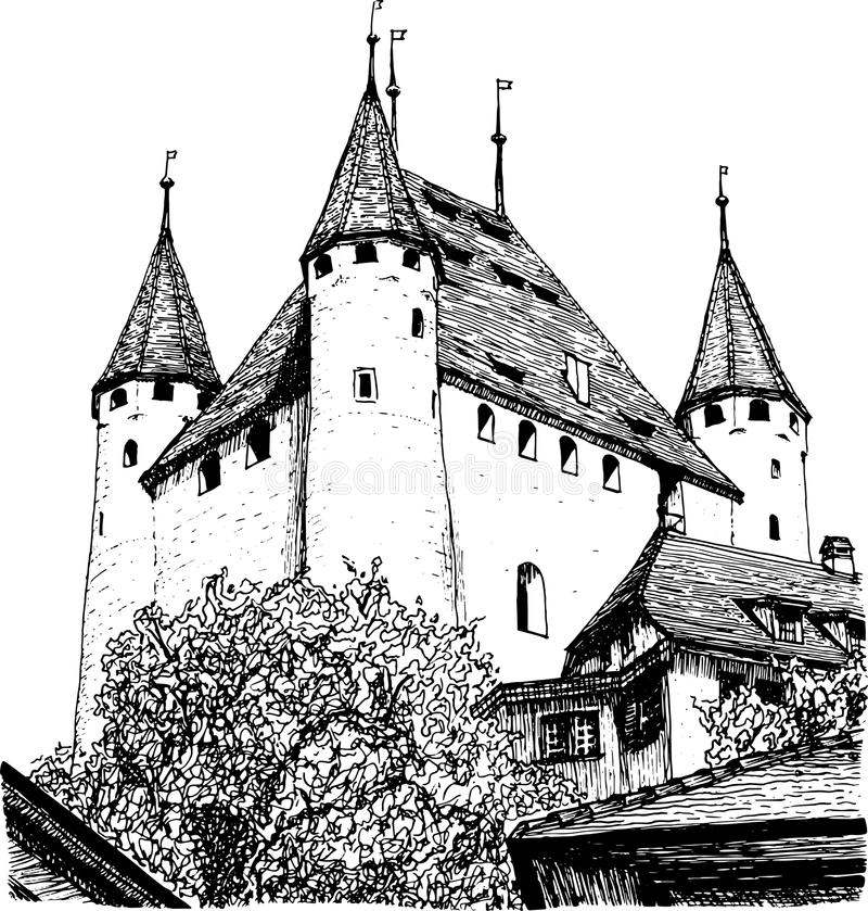 Sketch of a European castle. Sketch of a beautiful old European castle, which is in Switzerland, black on a white background stock illustration