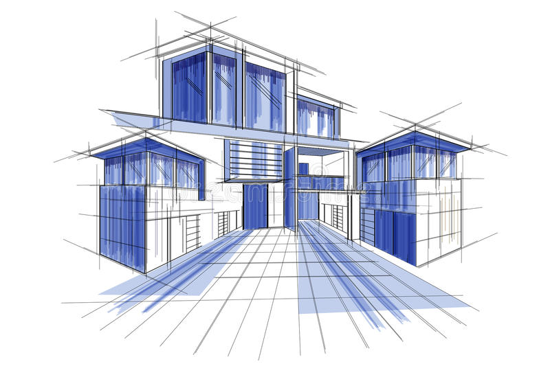 Sketch of exterior building draft blueprint design stock vector download sketch of exterior building draft blueprint design stock vector illustration of illustration house malvernweather Gallery