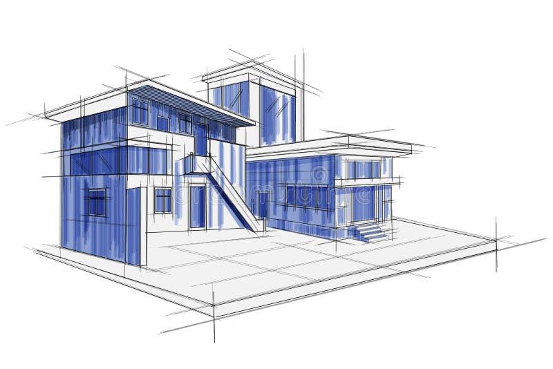 Sketch of exterior building draft blueprint design stock vector easy to edit vector illustration of sketch of exterior building draft blueprint design malvernweather Gallery