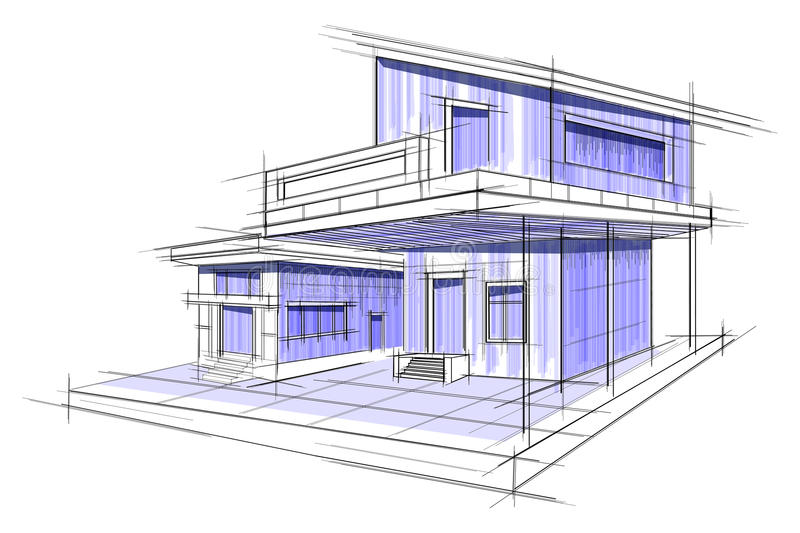Sketch of exterior building draft blueprint design stock vector download sketch of exterior building draft blueprint design stock vector illustration of city editable malvernweather Gallery