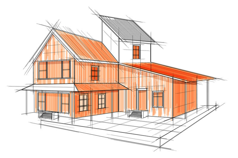 Sketch of exterior building draft blueprint design stock vector download sketch of exterior building draft blueprint design stock vector illustration of graphic drawing malvernweather Image collections