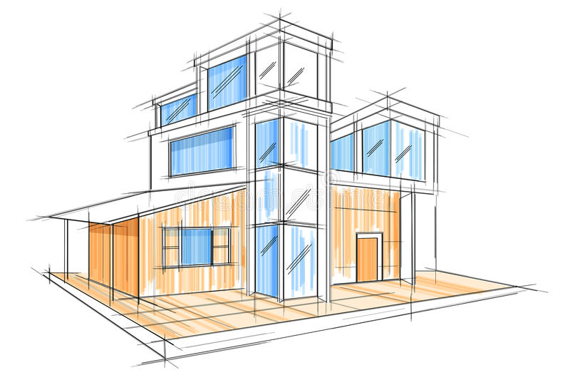Sketch of exterior building draft blueprint design stock vector download sketch of exterior building draft blueprint design stock vector illustration of perspective office malvernweather Image collections