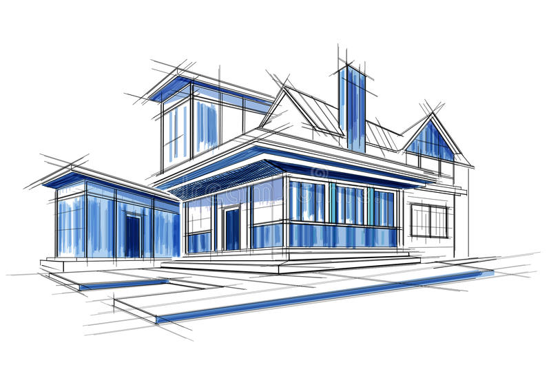 Sketch of exterior building draft blueprint design stock vector download sketch of exterior building draft blueprint design stock vector illustration of office abstract malvernweather Images