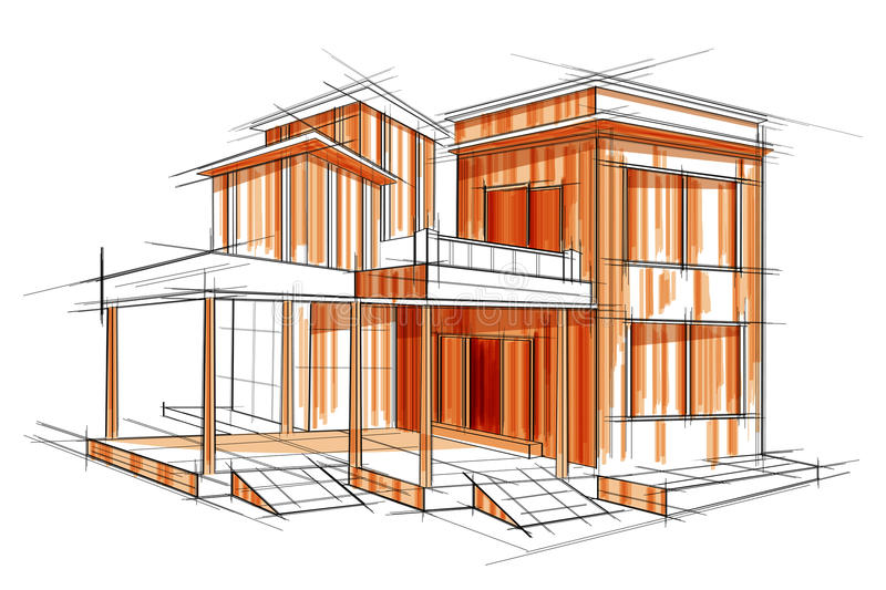 Sketch of exterior building draft blueprint design stock vector download sketch of exterior building draft blueprint design stock vector illustration of editable mansion malvernweather Image collections