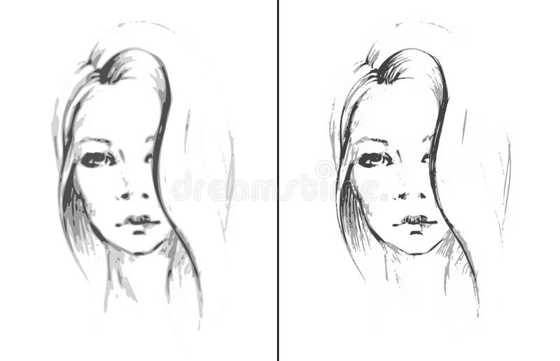 Sketch face girl. Vector illustration royalty free stock photo