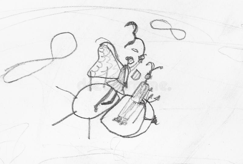 Sketch of fairy and devil flying on bee in sky stock illustration