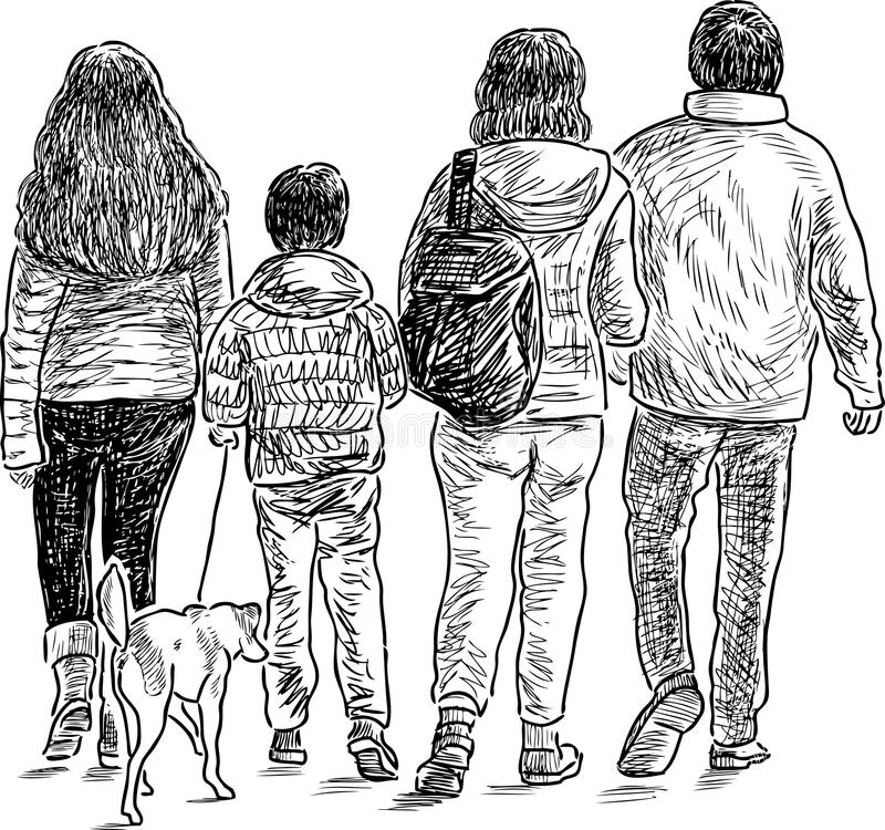 Sketch Of A Family On A Stroll Stock Vector