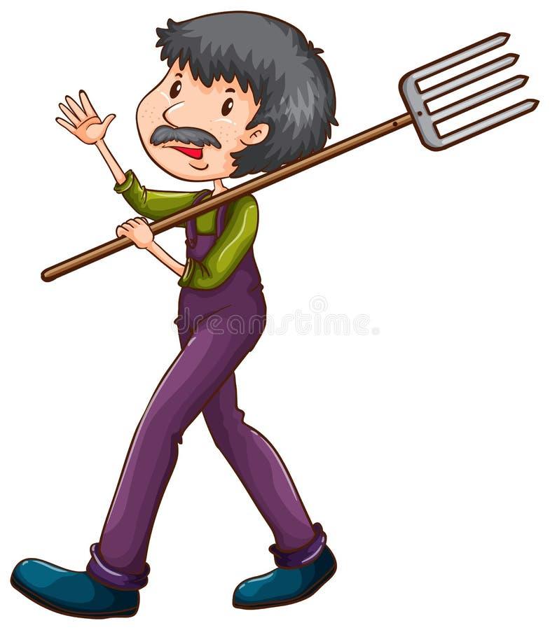 A sketch of a farmer with a rake. Illustration of sketch of a farmer with a rake a on a white background vector illustration