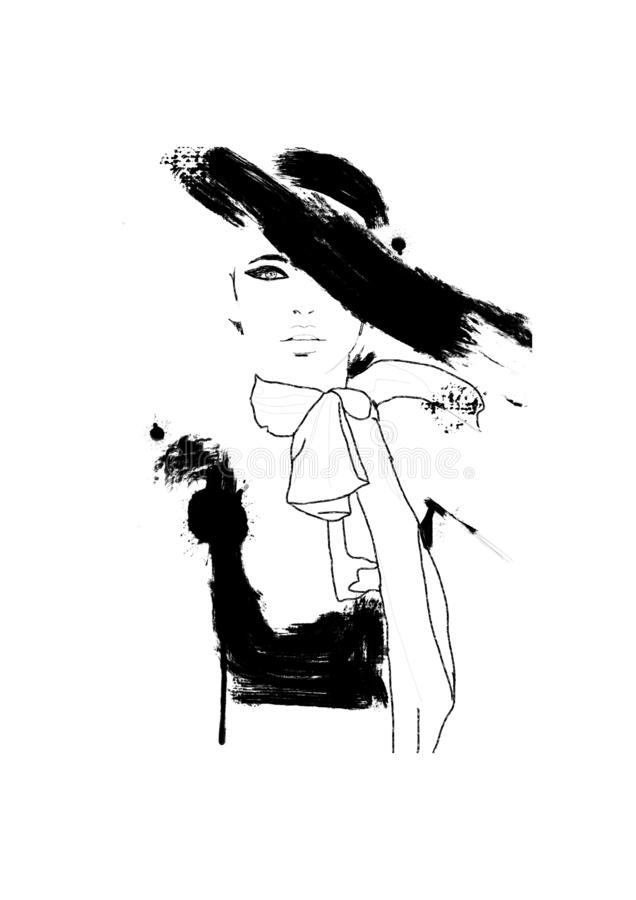 Sketch fashion.Abstract simple black and white painting of beautiful model. Haute couture Classic woman. Fashion illustration of c. Ute girl with smokey eyes and royalty free illustration