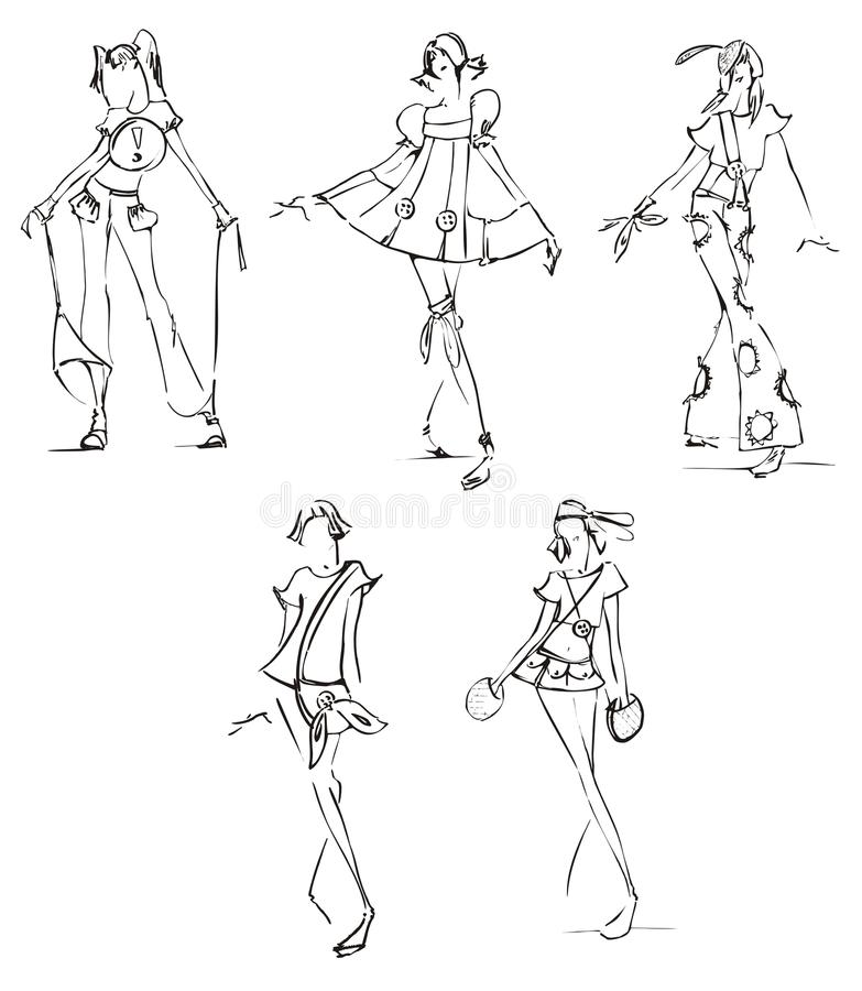 Sketch of fashion dresses royalty free illustration