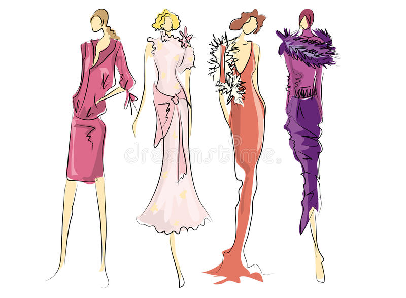 Sketch of fashion dresses stock illustration