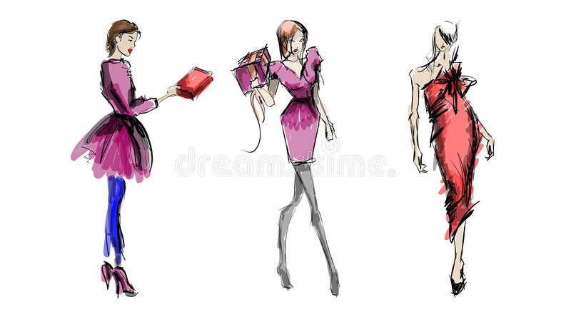 Sketch. fashion girls royalty free illustration