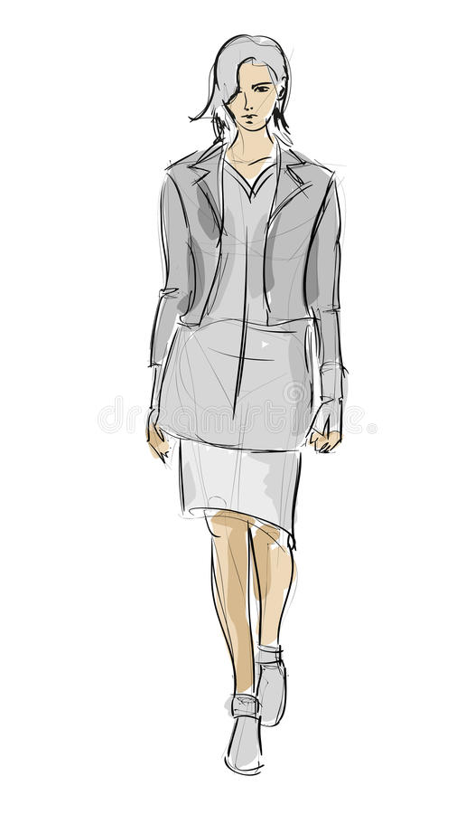 Download SKETCH. fashion girls stock vector. Illustration of lady - 32783529