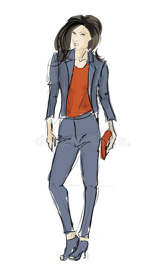 Download SKETCH. fashion girls stock vector. Image of contour - 32783536