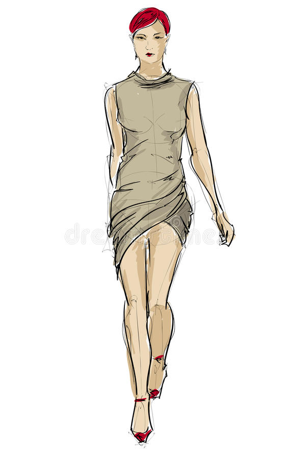 Download SKETCH. fashion girls stock vector. Image of posing, painting - 32783548