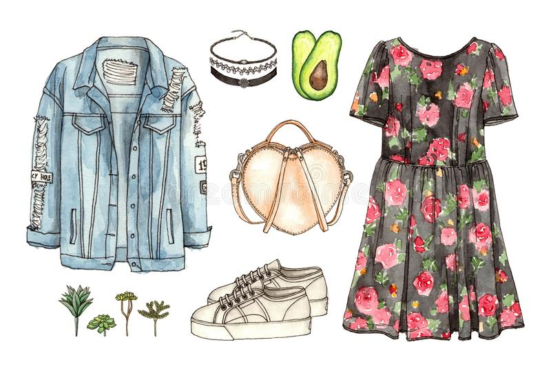 Sketch Fashion Look Woman Vintage Clothes Stock Illustration Illustration Of Outfit Jacket 116528341