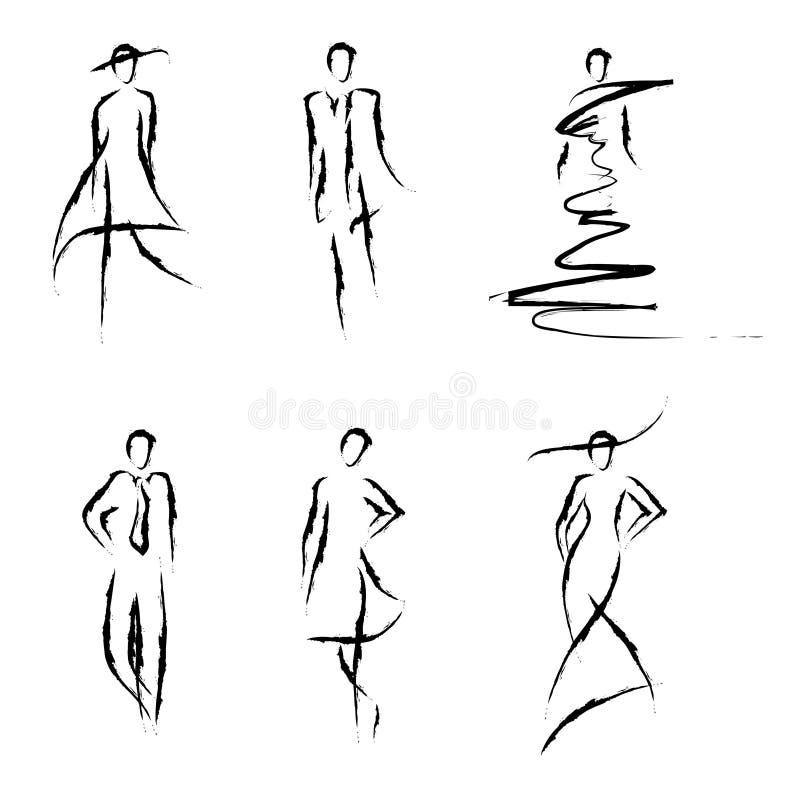 Sketch fashion models vector illustration