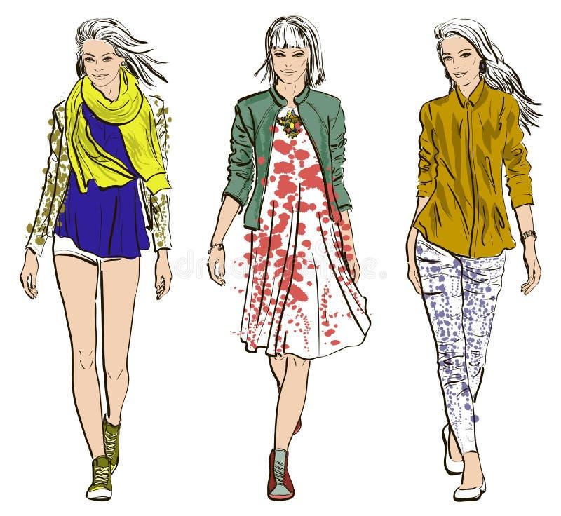 Sketch of Fashion models royalty free illustration
