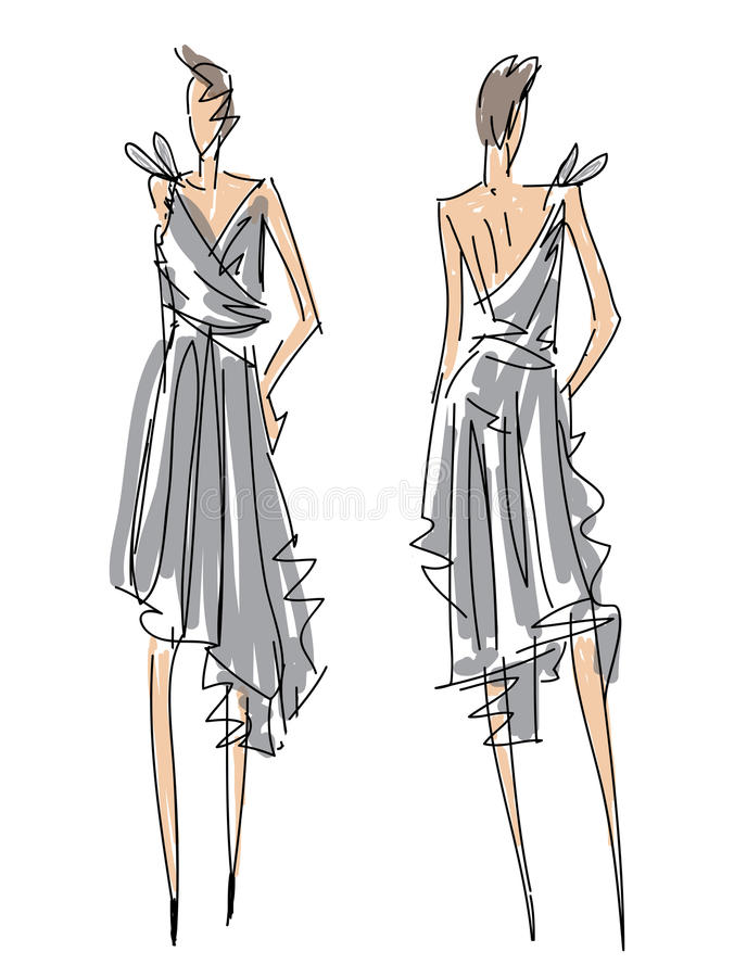 Sketch Fashion Poses stock illustration