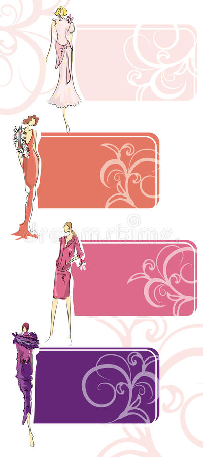 Sketch of fashion suits in the colors of season stock illustration